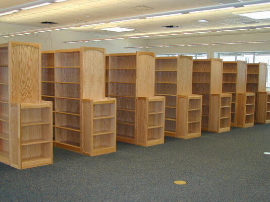 CommCab Library Casework Holidaysburg High School Custom End Panels and Stacks