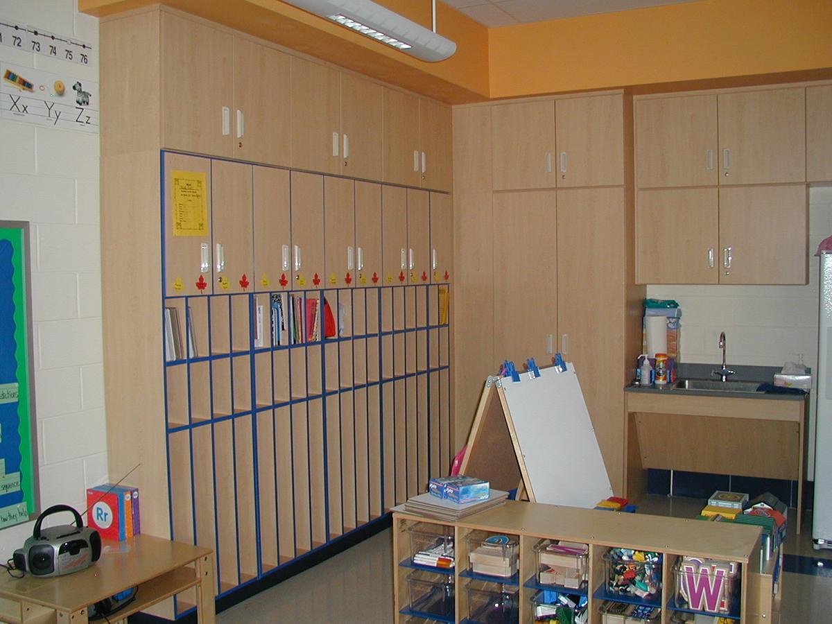 CommCab Plastic Laminate Cubbies with ADA Sink area.