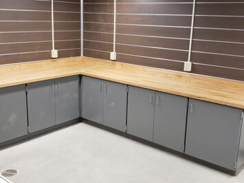CommCab Plastic Laminate Casework California University Bally Block Tops on Plastic Laminate Casework
